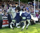 Powell (NZL) and Lenamore on their lap of honour after winning the Land Rover Burghley Horse Trials (GBR), the fourth leg of the HSBC FEI Classic™