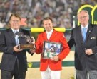 Christian Baillet, Chairman of the JOC and Sven Holmberg, First Vice-President of the FEI, presenting Owner of the Year Award to Eric Lamaze.