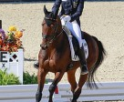 Germany's Simone Deitermann and Free Easy NRW took the lead on the opening day of dressage in the Eventing Championship at the Alltech FEI World Equestrian Games™ in Kentucky (USA). Photo by: FEI/Dirk Caremans
