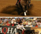 Above: Duane Latimer of Bienfait, SK won the individual bronze medal in Reining at WEG. Below: Shawna Sapergia of Cochrane, AB, and This Chics On Top finished in 7th. Photos by: Kalina Rutledge, Equine Canada