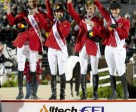 Germany stormed to victory in the Team Jumping Championship at the Alltech FEI World Equestrian Games™ in Kentucky, USA tonight. Pictured left to right – Carsten-Otto Nagel, Meredith Michaels-Beerbaum, Marcus Ehning and Janne-Friedericke Meyer. Photo by: FEI/Kit Houghton