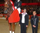 Germany's Isabell Werth made it a back-to-back double of wins in the 2010/2011 Reem Acra FEI World Cup™ Dressage. Werth is pictured here with Frederique Martin-Baste, Manager, Commercial, FEI (centre) and Sylvie Robert, Show Director at Lyon (right). Photo: PSV J Morel