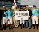 On May 3, 2009 at Woodbine Racetrack, jockey Jim McAleney captured his 2.000 win as a jock by guiding Whiskeyontherocks in a dead heat in the 10th race. Photo by Michael Burns