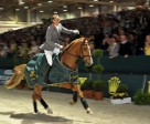 Marco Kutscher, winner of the opening speed leg of the 2010/2011 Rolex FEI World Cup™ Final riding Cash at Leipzig (GER) celebrating today. Photo by Kit Houghton/FEI
