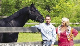 David Marcus and Deborah Kinzinger with Chrevi's Capital at David's farm in Campbellville, ON.