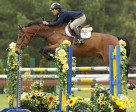 Lazer HB, owned by Danimax Farm and ridden by Nicolas Bayzelon, won the Seven and Eight-Year-Old Division of the Jump Canada Young Horse Series in the Concours Hippiques du Parc held June 1-5 in Blainville, QC. Photo by Cealy Tetley, www.tetleyphoto.com