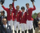 Belgian riders won both the team and individual Young Rider titles at the FEI European Jumping Championships for Children, Juniors and Young Riders 2011 at Comporta, Portugal.  Pictured (L to R) Nicola Philippaerts (team and individual gold), Victor Kumps, Jessica Geurts and Olivier Philippaerts, (front) Chef d'Equipe Rik Deraedt. Photo by Michael Steiger/FEI
