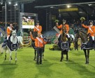 Chef d'Equipe Rob Ehrens (front) celebrates The Netherlands' victory in the fifth leg of the FEI Nations Cup™ 2011 at Aachen (GER) tonight with team members (L to R) Gerco Schroder, Jur Vrieling, Jeroen Dubbeldam and Eric van der Vleuten.  Photo: FEI/Kit Houghton.