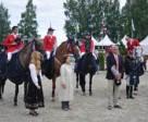 The Swiss team that won the fourth leg of the FEI European Promotional League 2011 at Drammen in Norway -- L to R - Arthur Gustavo Da Silva (La Toya), Christina Liebherr (LB Callas Sitte Z), Claudia Gisler (Touchable) and Niklaus Schurtenberger (Fifty Fifty) pictured during the prize-giving with Chef d'Equipe, Urs Gruning, in the foreground.  Photo by FEI/Drammen Press