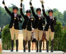 Avery Klunick, Alyssa Phillips, Alexa Ehlers and Victoria New, USA Area 5's Gold Medal Junior Eventing Team Champions at the FEI North American Junior and Young Rider Championships 2011 in Lexington, Kentucky. Photo by FEI/Anthony Trollope.