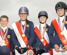 The gold medal winning British Jumping team at the FEI European Pony Championships 2011 in Jaszkowo (POL) - L to R - Graham Babes, Jessica Mendoza, Amy Inglis and Beth Vernon. Photo by FEI/Helen Revington.