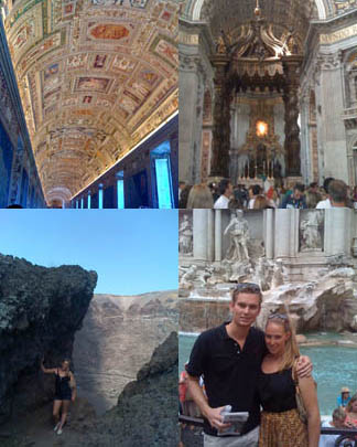 These pictures are from the Trevi Fountain, Vatican Museum, Almafi and Pompeii.