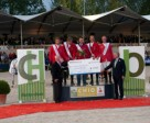 The German team celebrate their double victory in Rotterdam (NED) tonight where they won the last leg of the FEI Nations Cup™ 2011 along with the series title - L to R - Carsten-Otto Nagel, Ludger Beerbaum, Otto Becker (Chef d'Equipe), Marco Kutscher and Thomas Voss.  Photo by  FEI/CHIO Rotterdam Press.