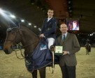 Gregory Wathelet and Copin van de Broy won today's eighth leg of the Rolex FEI World Cup™ Jumping 2011/2012 series on their home turf at Mechelen in Belgium.  They are pictured receiving the winner's prize of a Rolex watch from Mr Philippe De Baets, Managing Director, Rolex Benelux. Photo by FEI/Dirk Caremans.