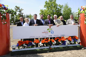 Celebrating the announcement (from left to right): Craig Collins, Equestrian Management Group; MPP Sylvia Jones (Dufferin-Caledon); Charles Sousa, Ontario Minister responsible for the Pan/Parapan American Games; Ian Troop, Chief Executive Officer for TO2015; Bal Gosal, Minister of State (Sport); MP David Tilson (Dufferin-Caledon); Regional Councillor Richard Whitehead of Town of Caledon; and Mike Gallagher, President of Equine Canada. Photo by ShootPhoto.ca