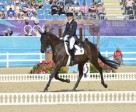 Germany's Ingrid Klimke and Butts Abraxxas took the early lead in the dressage phase of Eventing at the Olympic equestrian events venue in Greenwich Park. Photo by FEI/Kit Houghton.