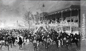 The Montreal Hunt Club house. This photo taken in 1886 is a composite; each horse and rider were photographed and placed individually.