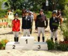 Pictured at the FEI World Jumping Challenge Final 2013 which took place at the Caracas Country Club in Venezuela - (L to R) silver medallist Siengsaw Lertratanachai (THA), gold medallist Isabel Sanchez (DOM), bronze medallist Philippe Burckel (MRI) and Janine Khoo (SIN) who finished just outside the medals in fourth place.