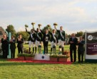 At the podium presentation following the last qualifying leg of the Furusiyya FEI Nations Cup™ Jumping 2013 series at CSIO 3* San Marino Arezzo