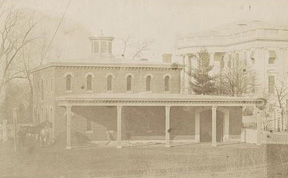 The White House stables before they burned in 1864