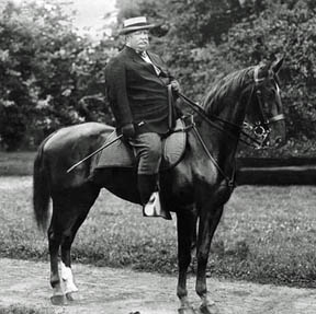 President Taft never had much luck with horses but enjoyed the occasional ride.