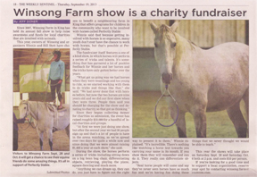 Article on Winsong Farm fundraiser from King Weekly Sentinel.