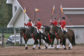 Evan Phinney and Back At Ya' (last pair on right), at the Halifax Junior Bengal Lancers Musical Ride in October 2011.
