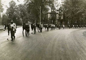 Before horse vans, in 1934, horses arrived by train from New York and were walked to the track through the main streets of Saratoga.