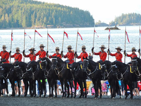 The RCMP on a beach in British Columbia.