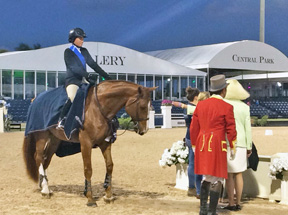 Victoria Colvin, winner of the George Morris Excellence in Equitation class, on Patrick.