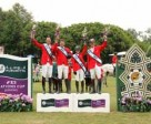 Team Canada recorded their second successive victory in the Furusiyya FEI Nations Cup™ Jumping 2014 North America, Central America and Caribbean League when winning the qualifier at Coapexpan, Mexico. On the podium (L to R) Jonathon Millar, Chris Sorensen, Kara Chad and Ian Millar. Photo by FEI/Anwar Esquivel