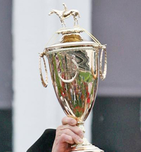 The famous gold Kentucky Derby Trophy.
