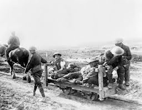 The Battle of Flers Courcelette.WW I. Wounded being transported on a horse drawn railway.