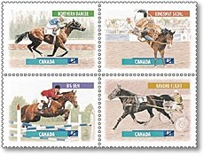 Northern Dancer is immortalized on a June 1999 stamp featuring Big Ben, Armbro Flight and Kingsway Skoal.