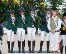 Ireland claimed team gold for the second year in succession at the FEI European Eventing Championships for Juniors 2014 at Bishop Burton College in Yorkshire, Great Britain. L to R - Lucy Latta, Susie Berry, Nessa Briody, Cathal Daniels who also claimed Individual silver, and Chef d'Equipe Debbie Byrne. Photo by FEI/Adam Fanthorpe