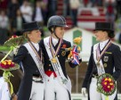 Medal winners on the podium after the thrilling Dressage Grand Prix  Special at the Alltech FEI World Equestrian Games™ 2014 in Normandy today: L to R - Germany's Helen Langehanenberg (silver), Great Britain's Charlotte Dujardin (gold) and Germany's Kristina Sprehe (bronze).  (Dirk Caremans/FEI)