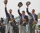 The individual Driving medallists in the Alltech FEI World Equestrian Games™ 2014 in Normandy. Pictured from left to right are silver medallist Chester Weber (USA); gold medallist and world champion Boyd Exell (AUS); bronze medallist Theo Timmerman (NED). Photo by Marie de Ronde-Oudemans/FEI