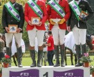 Team Germany's Robert Sirch, Jörg Kurbel, Bodo Battenberg and Wolf Dieter-Eckl scored the victory in Montelibretti (ITA) at the weekend to put Germany back in the lead of the FEI Nations Cup™ Eventing 2014. Photo by Massimo Argenziano/FEI