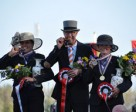 Wilbrord van den Broek (centre) won individual gold at the FEI World Single Driving Championships 2014 in Izsák (HUN) with Germany's Claudia Lauterbach taking silver (left) and compatriot Marlen Fallak claiming bronze. Photo by Claudia Spitz/FEI