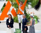 The Netherlands' Jeroen Dubbeldam celebrates victory in the individual Jumping final after receiving the gold medal from IOC Member, Tsunekazu Takeda, Vice-President of the Tokyo 2020 Organising Committee and Member of the FEI Olympic Council, and FEI President, HRH Princess Haya. Photo by Dirk Caremans/FEI