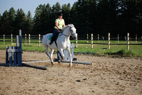 Equitation went out the window while trying to get Luc to lengthen his stride.