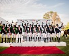 On the podium for the Pre-Junior Team event at the FEI Americas Jumping Championships 2014 in Vitacura, Chile (L to R): the silver medallists from Brazil Verde, the gold medallists from Brazil Amarela and the bronze medallists from Argentina Blanco. Photo by FEI/Lucio Landa