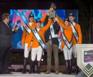The Netherlands' team celebrate victory in the Furusiyya FEI Nations Cup™ Jumping 2014 Final in Barcelona, Spain tonight. (L to R), HRH Prince Faisal of Saudi Arabia and Dutch team members Jeroen Dubbeldam, Gerco Schroder, Chef d'Equipe Rob Ehrens, Maikel van der Vleuten and Jur Vrieling. Photo by FEI/Dirk Caremans