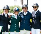 On the podium at the FEI World Jumping Challenge Final 2014 in Kyalami (RSA) left to right: silver medallist Maria Gabriela Brugal (DOM), Alexa Stais (RSA) who finished fourth, Rainer Korber (RSA) who took bronze and gold medallist Charley Crockart (ZIM). Photo by FEI/Tamara Blake Images