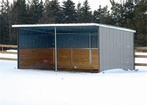 """This shed is complete with all outside steel, steel inside support wood pieces up 48"""" as a kick board on the inside."""