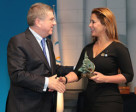FEI President HRH Princess Haya received the Trophy of the International Olympic Committee from the IOC President Thomas Bach at the 127th Session of IOC in Monaco today (IOC/Ian Jones)