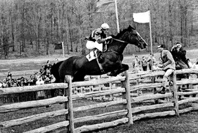 Kathy Kusner on Whackerjack – Maryland Hunt Cup, 13th Fence.