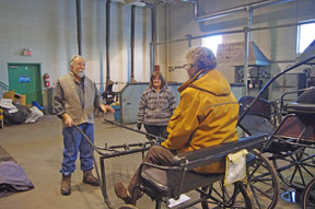 The effect of weight onto the shafts was a startling experience. And, with several workshop participants trying this out, the differing human lengths of leg and comfort and counter-balance made it obvious the cart had to fit both horse and driver.