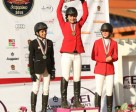 Medallists on the podium at the FEI Children's International Classics Final 2014 in Valle de Bravo, Mexico yesterday : (L to R) Issam Haddad from Lebanon (silver), Eugenia Garcia from Mexico (gold) and Ana Sofia Alban from Mexico (bronze). (FEI/Anwar Esquivel)