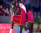 The girl with the floating horse: Charlotte Dujardin (GBR) on a lap of honour with Valegro after their win in the Reem Acra FEI World Cup™ Dressage Final 2014 in Lyon (FRA). Dujardin and Valegro will defend their title in Las Vegas (USA) next month. Photo by FEI/Arnd Bronkhorst